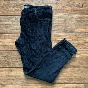 Black on Black Patterned Textured Jeans